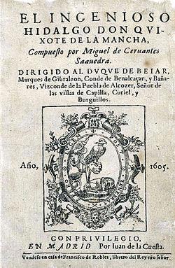 Portada del Ingenioso Hidalgo Don Quijote de la Mancha